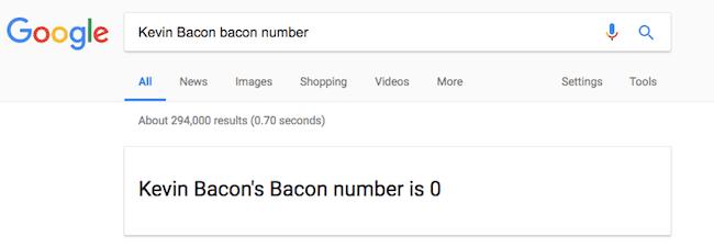 Kevin Bacon Number Easter egg image