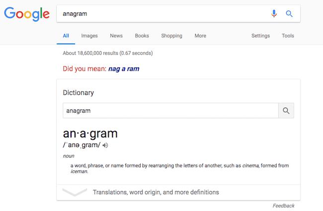 anagram Google Easter Eggs image
