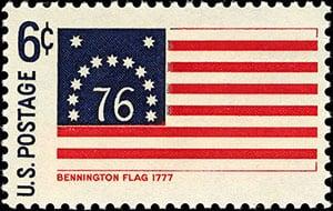 Famous American Flag: Bennington Flag stamp image