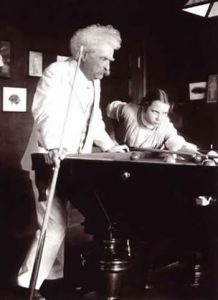 Mark Twain playing pool