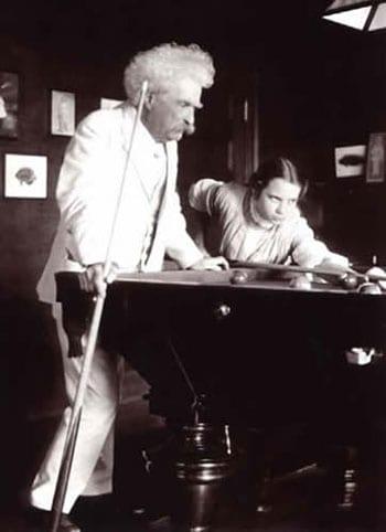 Mark Twain playing pool
