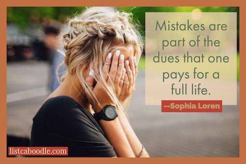 Sophia Loren quote on mistakes image