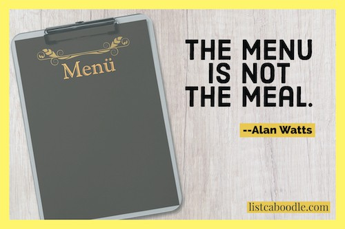 the menu is not the meal image
