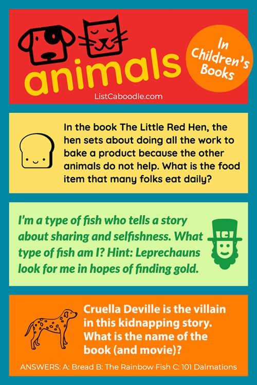 Animals in children's books quiz