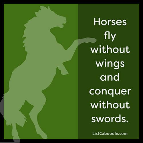 Horses fly without wings caption