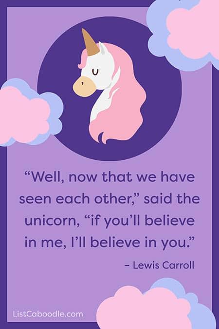 Lewis Carroll unicorn quote