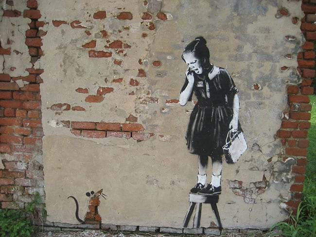 Girl and Mouse, famous Banksy graffiti